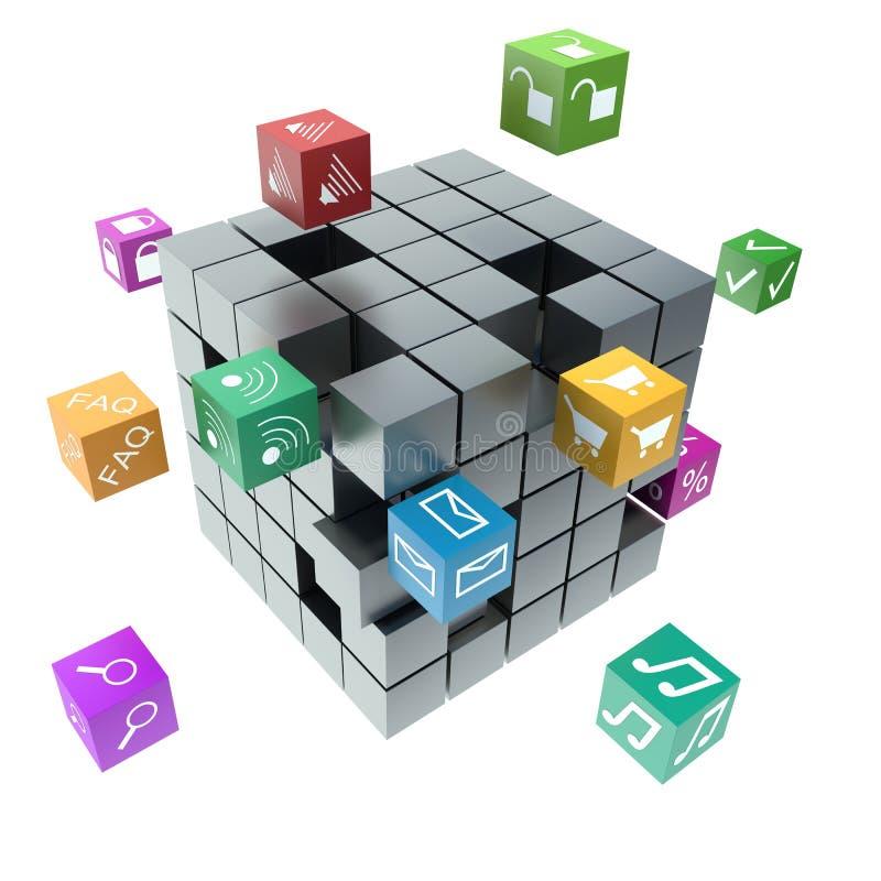 Mobiele toepassingen, media technologie en Internet-voorzien van een netwerk stock illustratie