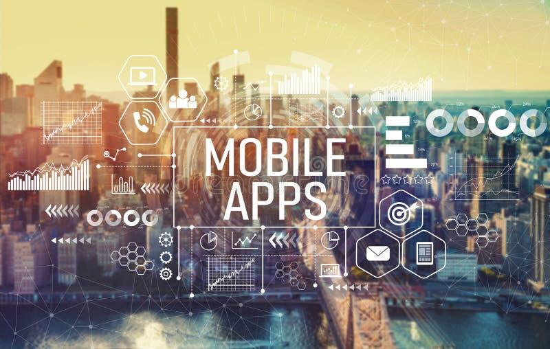 Mobiele toepassingen met de Stad van New York stock foto's