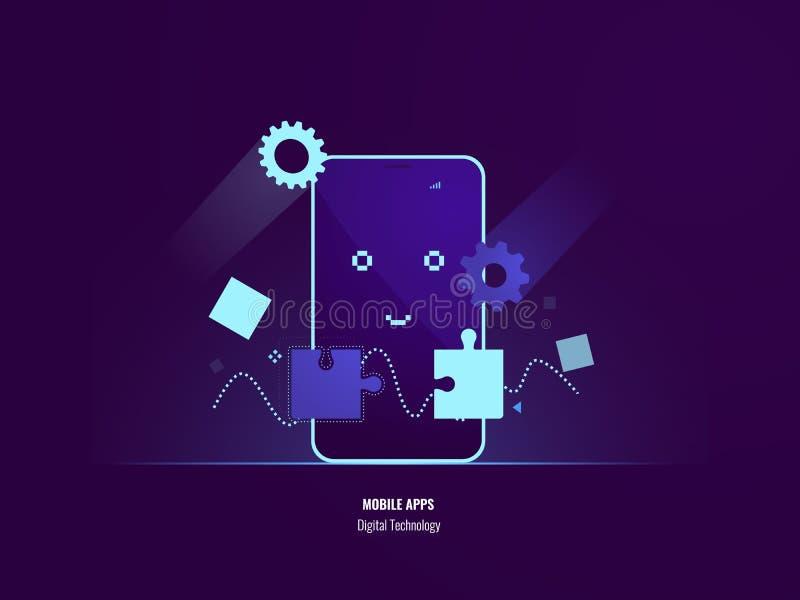 Mobiele toepassingenconcept, verbindingsraadsel, die smartphonesoftware, gelukkige mobiele telefoon, plaatsend programma uploaden royalty-vrije illustratie