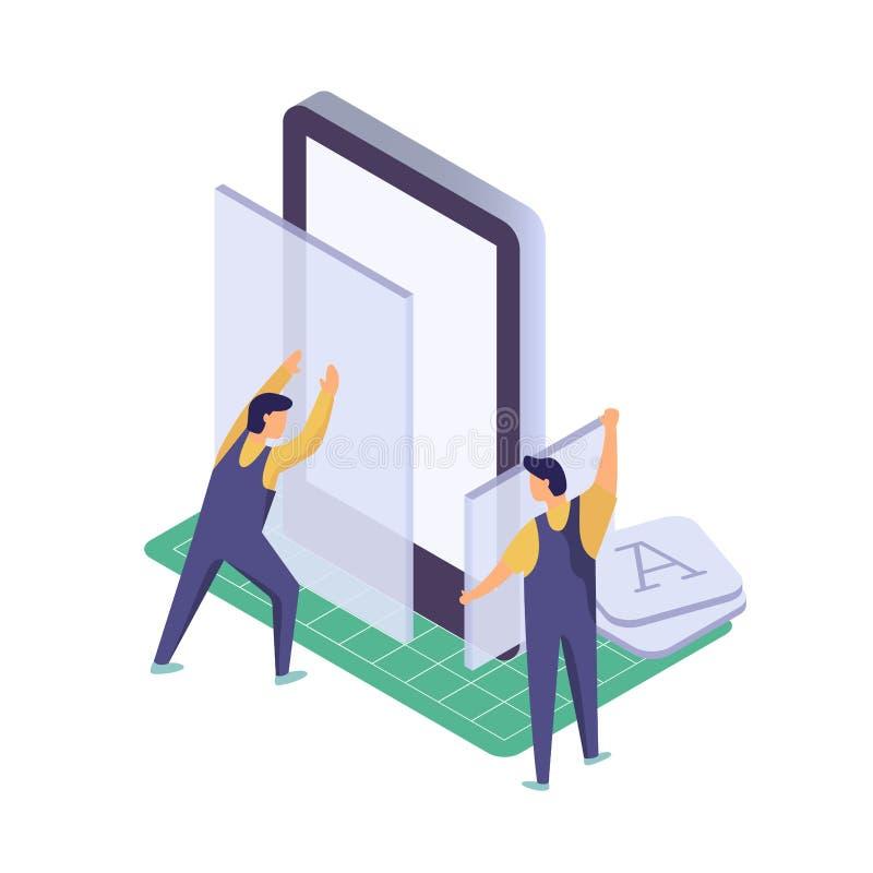 Mobiele toepassingsontwikkeling Arbeider de bouwsmartphone app Isometrische technologie vectorillustratie royalty-vrije illustratie