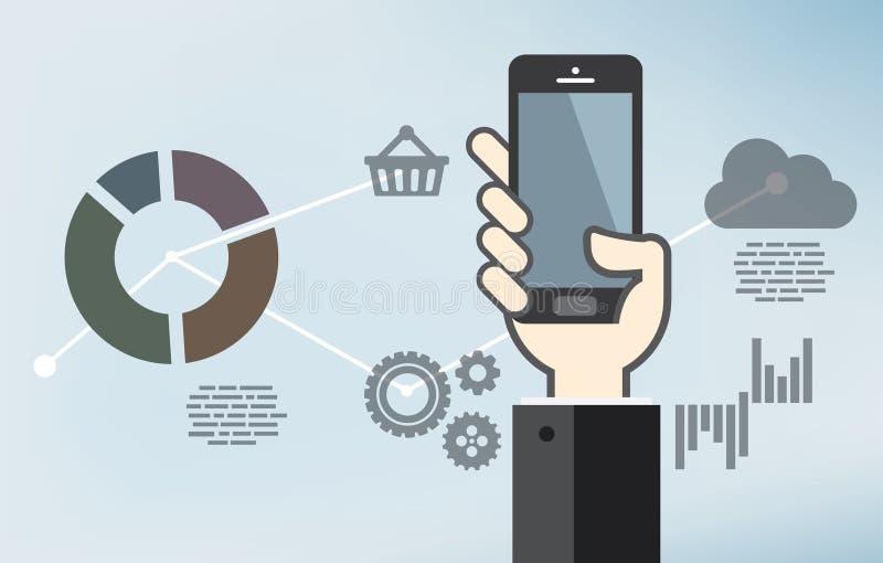 Mobiele toepassingsontwikkeling of smartphoneapp programmering royalty-vrije illustratie