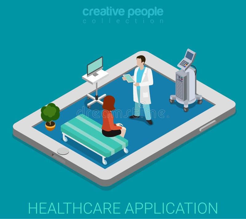 Mobiele verre app van het gezondheidszorgziekenhuis vlakke isometrische vector 3d royalty-vrije illustratie