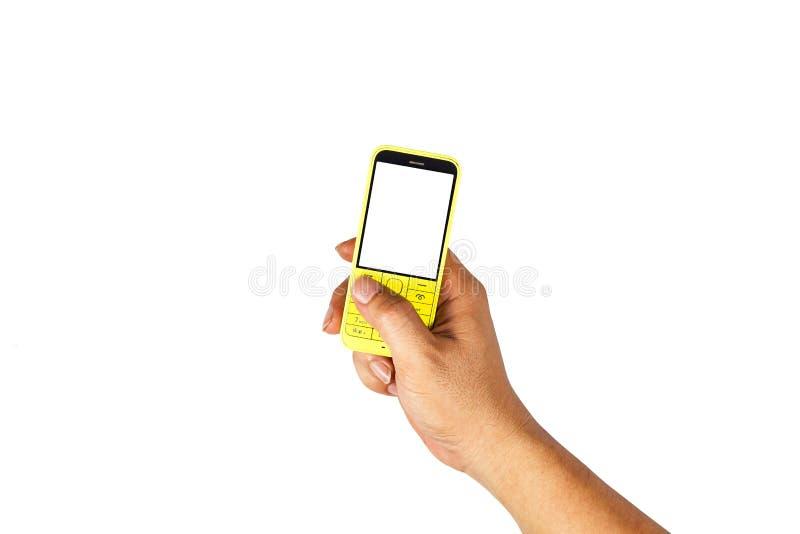 Mobiele versie van de gele pers Op een witte achtergrond stock afbeelding