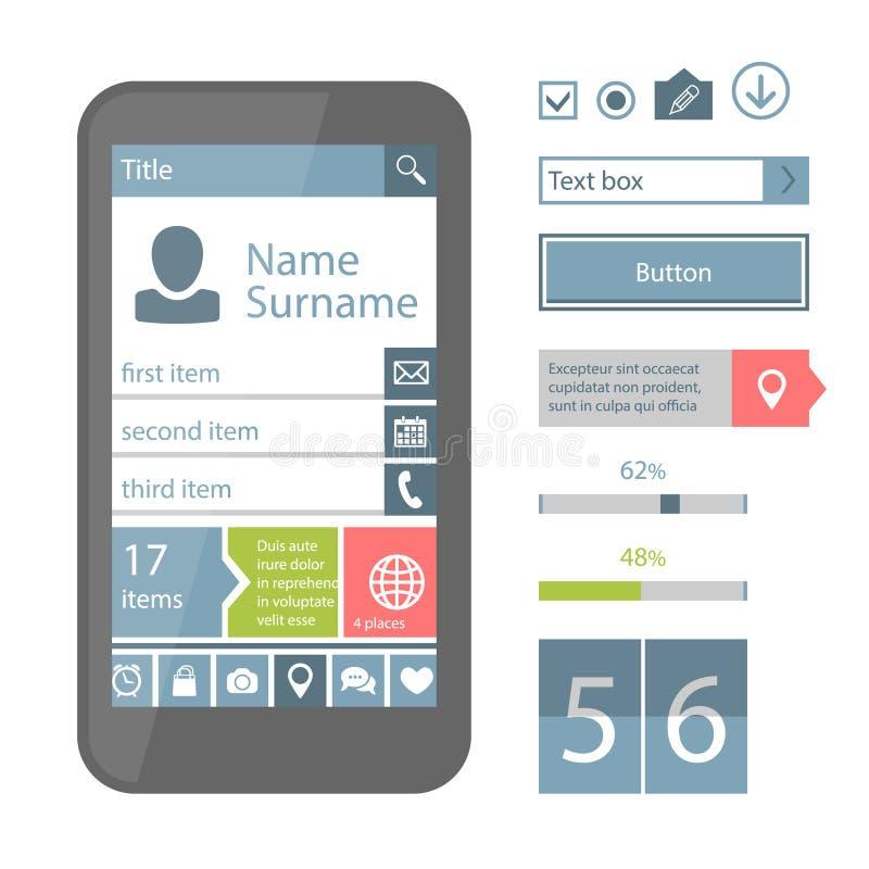 Mobiele vlakke UI-elementen vector illustratie