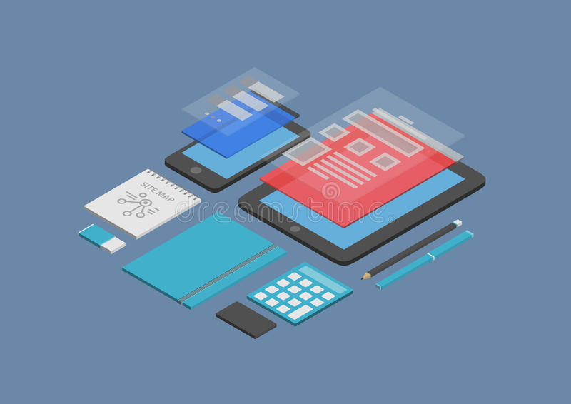 Mobiele Webontwerp en ontwikkelingsillustratie vector illustratie