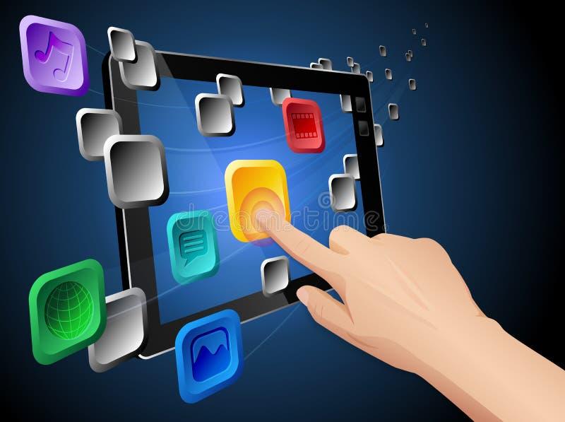 Mobiele wolk die met tablet gegevens verwerkt stock illustratie