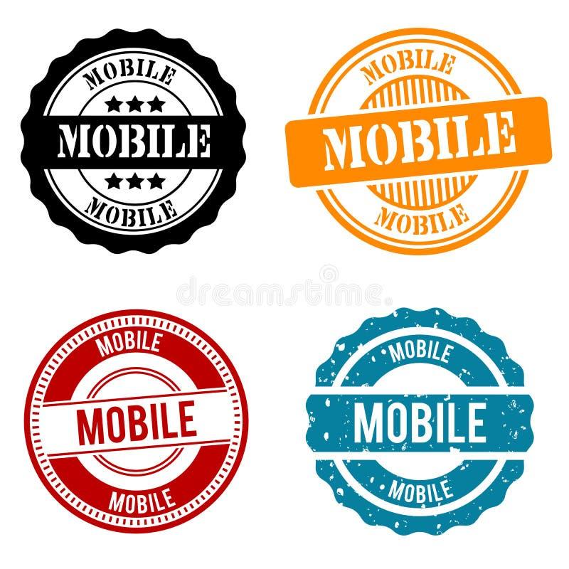 Mobiele Zegelinzameling Rond kenteken EPS 10 vector stock illustratie