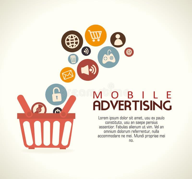 Mobil advertizing royaltyfri illustrationer