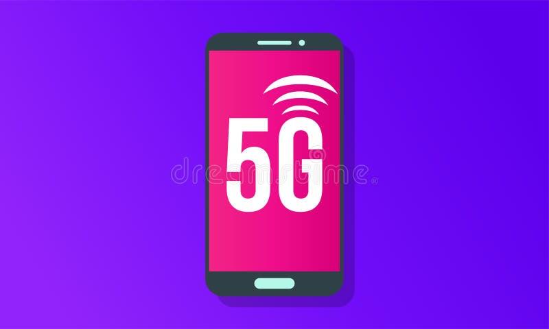mobil affisch för logo för vektor för nätverk för internet 5G vektor illustrationer