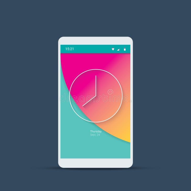 Mobil användargränssnittinloggningsskärm med parallellt klockasymbol royaltyfri illustrationer