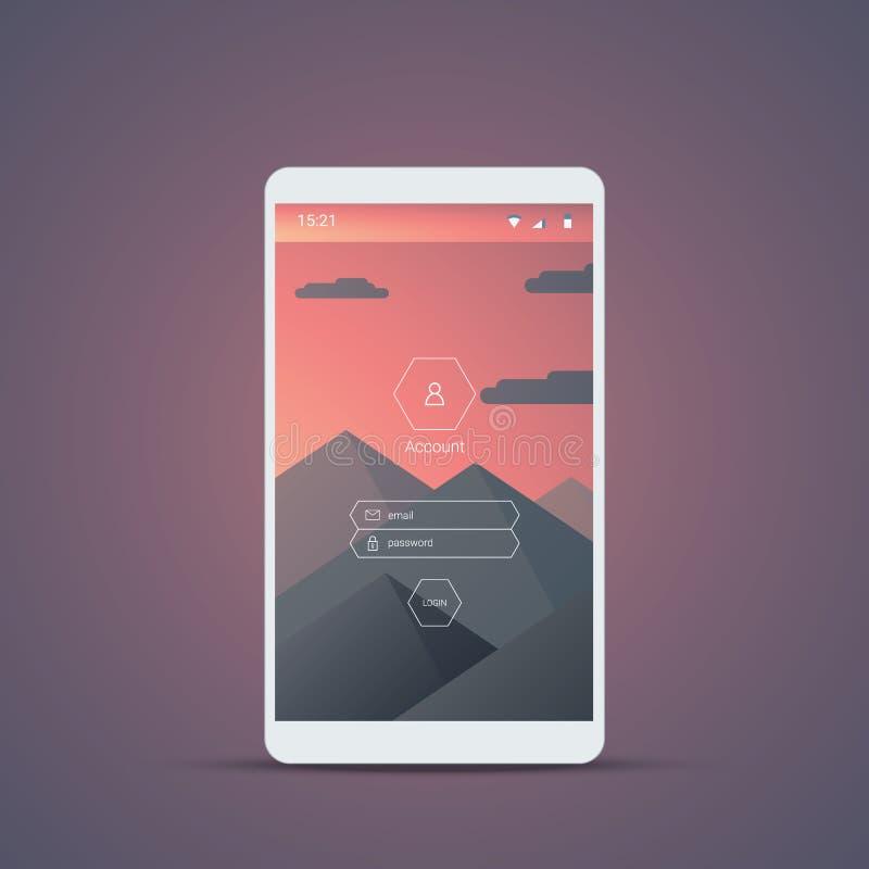 Mobil användargränssnittinloggningsskärm Smartphone symboler för konto och lösenord med berg landskap vektorbakgrund stock illustrationer