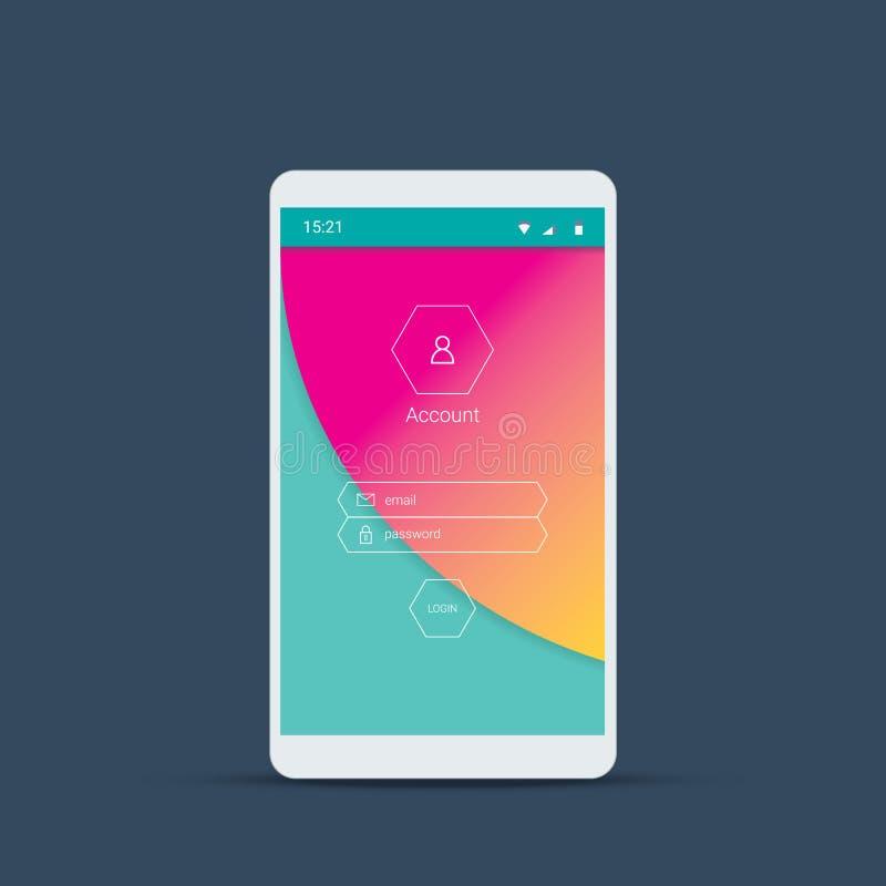 Mobil användargränssnittskärm med materiell designbakgrund Logga in menysymboler och knappar på rosa färger, grön bakgrund stock illustrationer