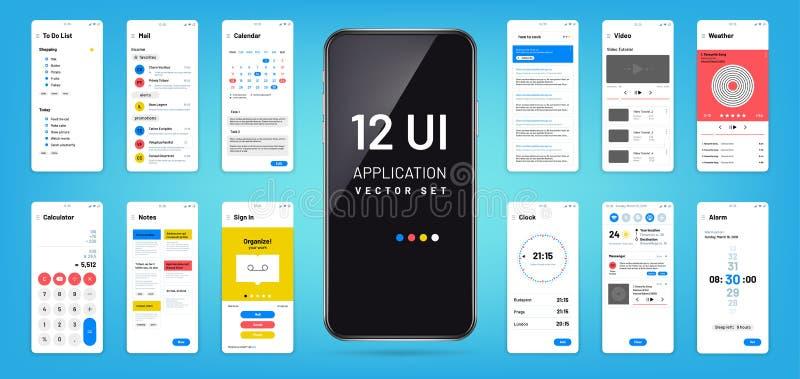 MOBIL app接口 Ui, ux屏幕wireframe模板 触摸屏幕应用传染媒介设计 向量例证