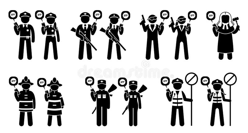 Mobil app för allmänhetens säkerhetjobb och ockupationer royaltyfri illustrationer