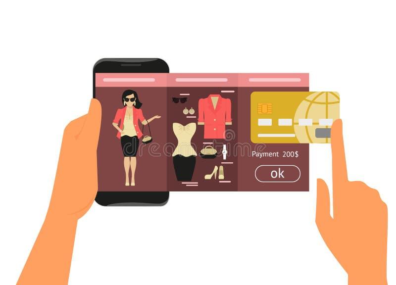 Mobil app för modeshopping royaltyfri illustrationer