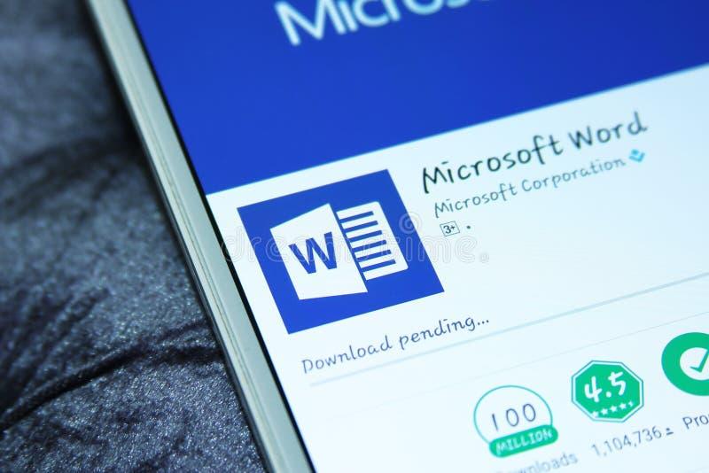 Mobil app för ord för Microsoft kontor arkivbild