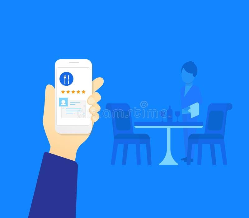 Mobil app för restaurang royaltyfri illustrationer
