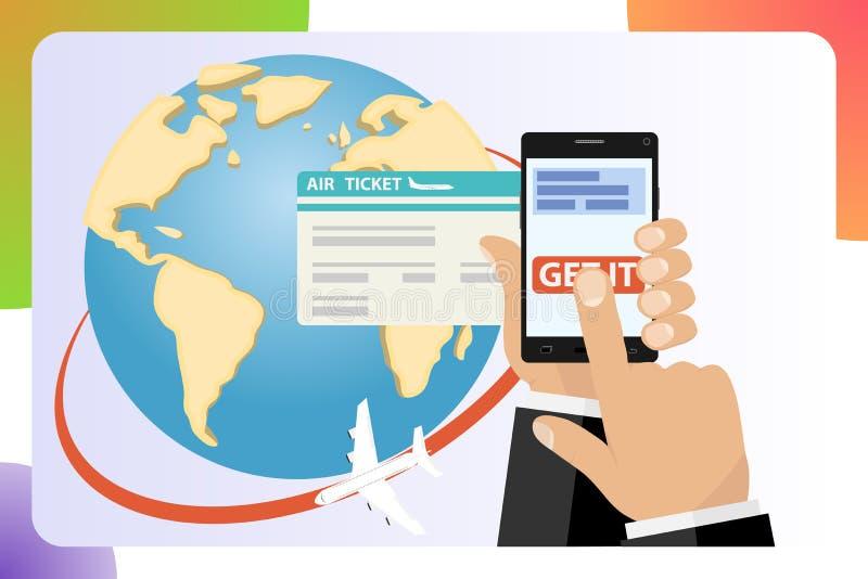 Mobil app flygbolagför online-biljetter Köpbiljettonline-mobil Applikationjordklot, världskarta, lopp, semester Online-biljettfly royaltyfri illustrationer