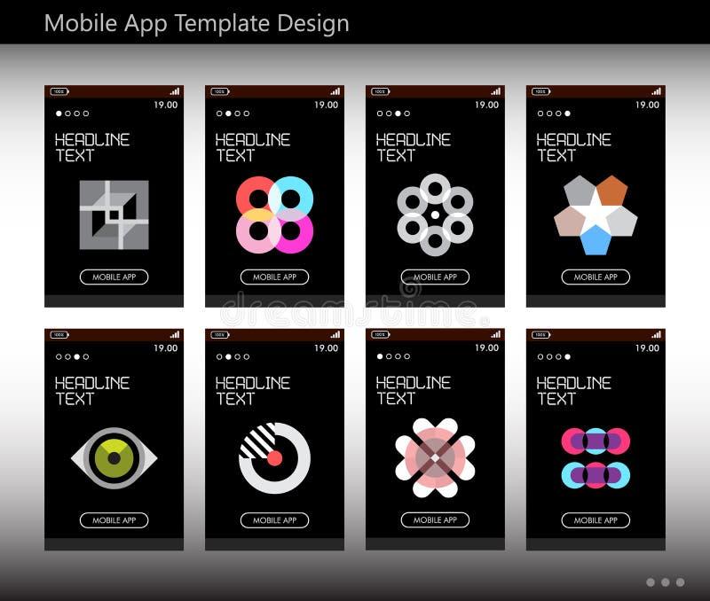 Mobil App-malldesign royaltyfri illustrationer