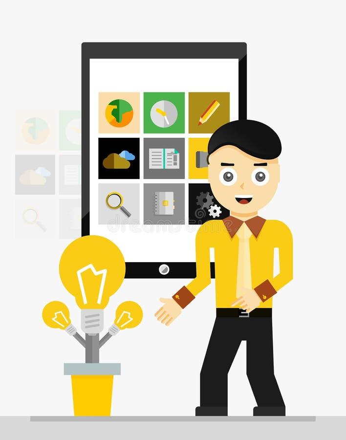 Mobil app-startidé affärsman som visar barn stock illustrationer