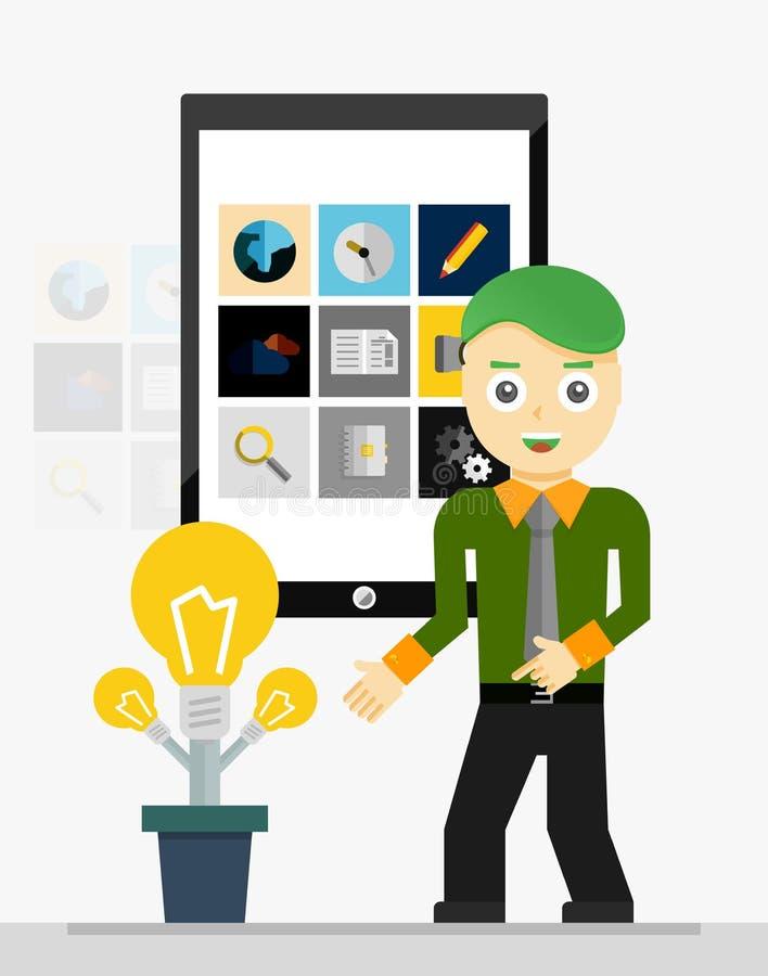 Mobil app-startidé affärsman som visar barn royaltyfri illustrationer