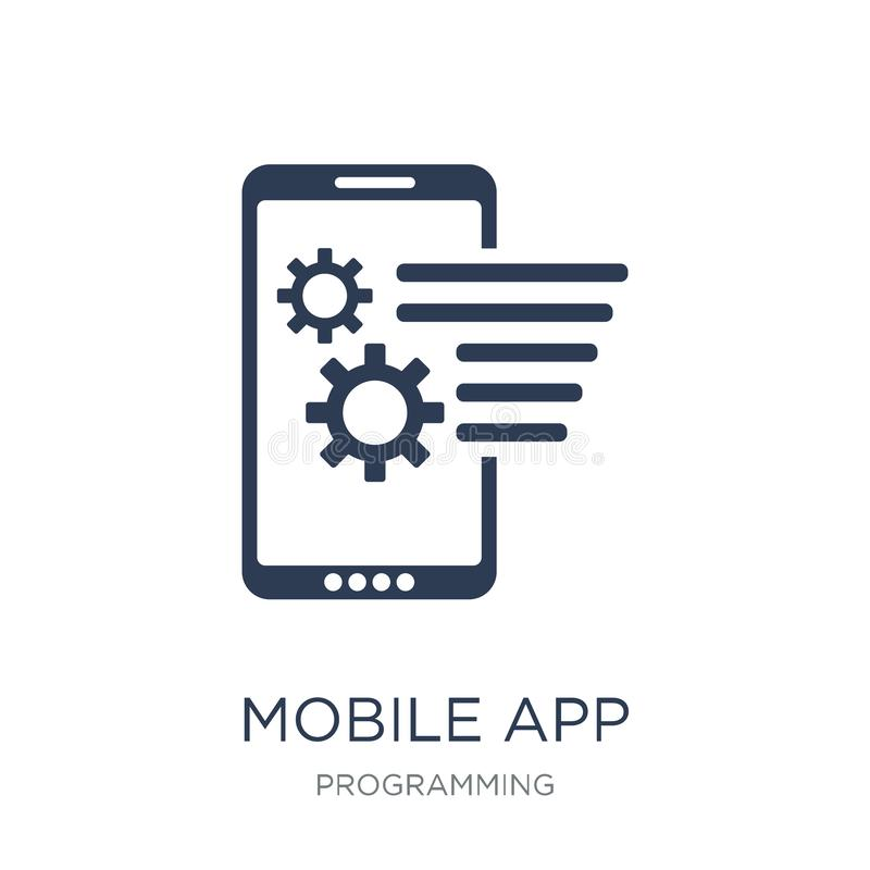 Mobil app-symbol Mobil appsymbol för moderiktig plan vektor på vit bac royaltyfri illustrationer