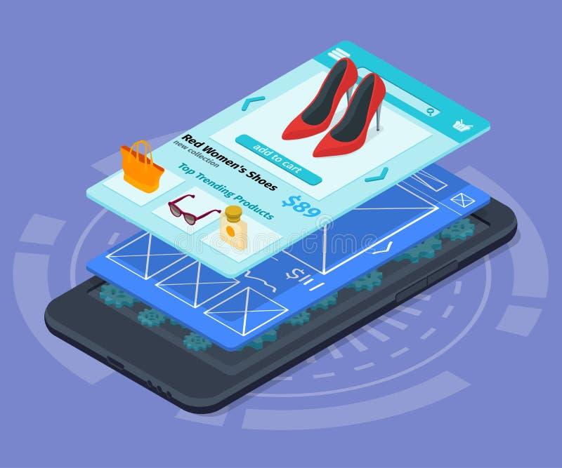 Mobil app-utveckling royaltyfri illustrationer