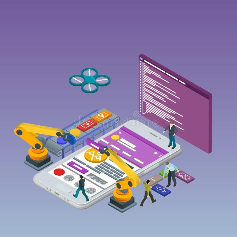 Mobil App-utveckling, erfaret lag Plan isometrisk vit telefon 3d Robotized Manipulatorrobot royaltyfri illustrationer