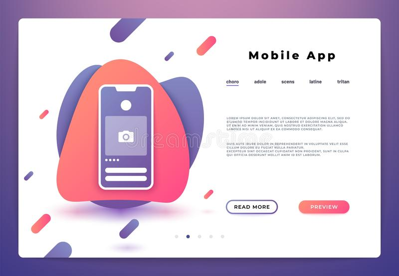 Mobil applandningsida Webbsidasmartphoneinloggning, websiteuiplattform, affärsbaner Utveckling för vektorillustrationbackend arkivbild