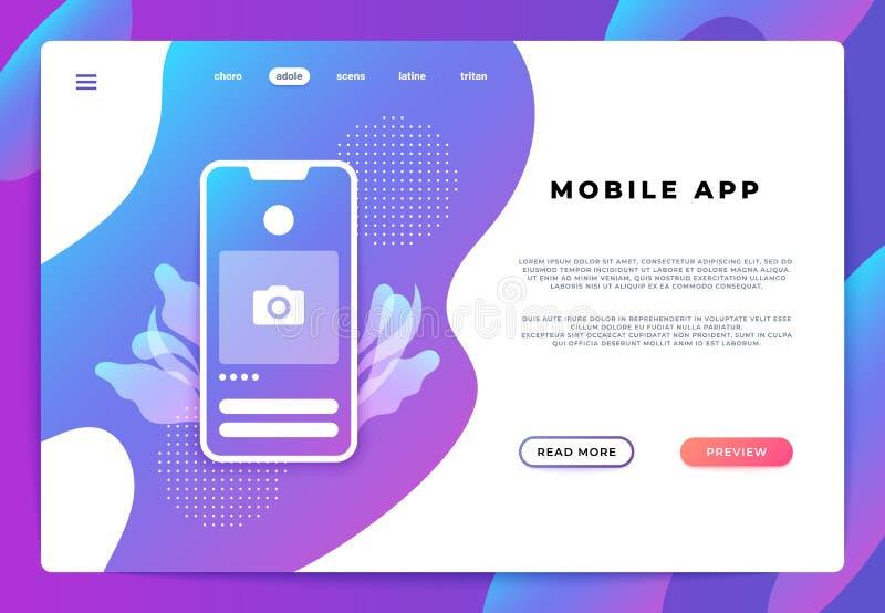 Mobil applandningsida Websiteuiplattform, affärsbaner, webbsidasmartphoneinloggning Utveckling för vektorillustrationbackend royaltyfri foto