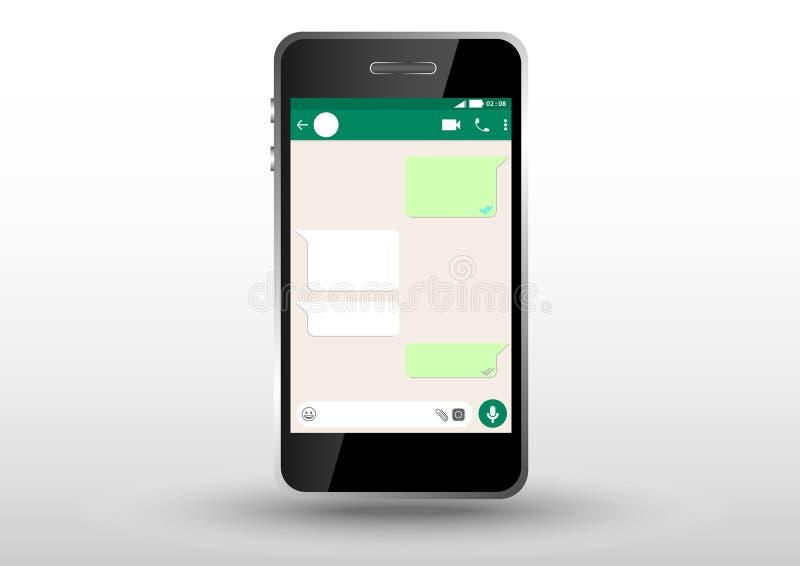 mobil applikation för whatsappram med telefonoutframe royaltyfri illustrationer