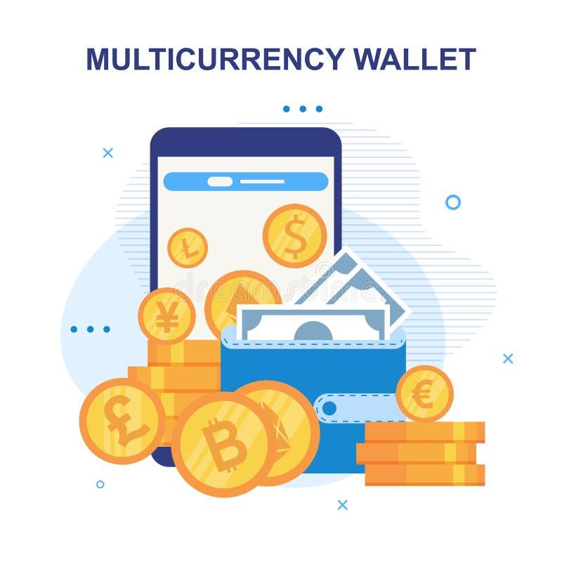 Mobil applikationannons för Multicurrency plånbok stock illustrationer