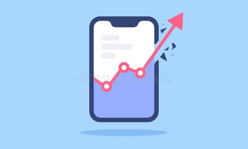 Mobil applikationanvändare och affärsintäkttillväxt royaltyfri illustrationer
