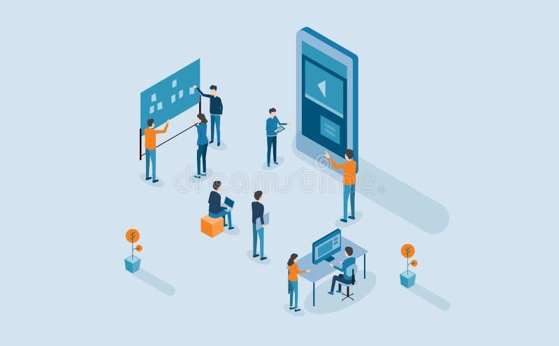 Mobil applikationdesign och utvecklingsprocess royaltyfri illustrationer