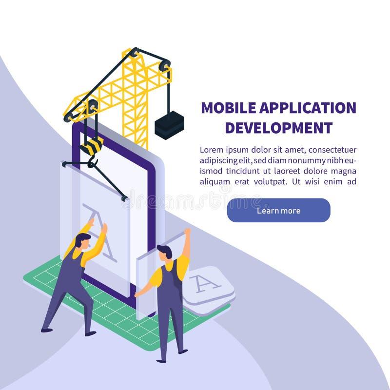 Mobil applikationutveckling Arbetarbyggnadssmartphone app Isometrisk teknologivektorillustration stock illustrationer
