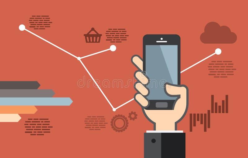 Mobil applikationutveckling eller programmera för smartphoneapp stock illustrationer