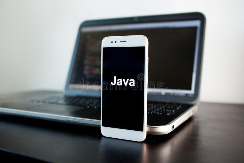 Mobil applikationutveckling, Java programmera språk för mobil utveckling arkivbild