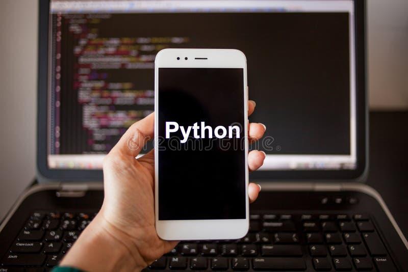 Mobil applikationutveckling, programmera spr?k f?r pytonorm f?r mobil utveckling arkivbild