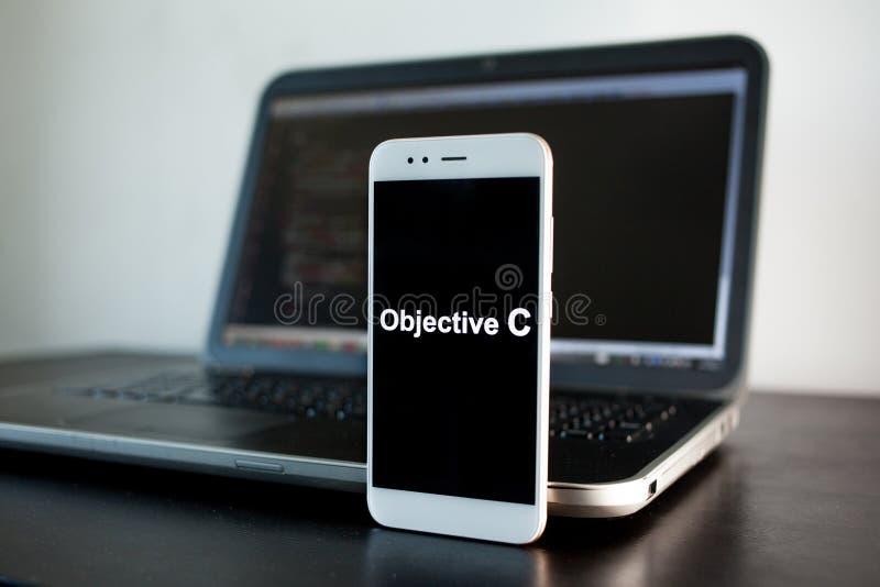 Mobil applikationutveckling, sakligt programmera språk för C för mobil utveckling arkivfoto