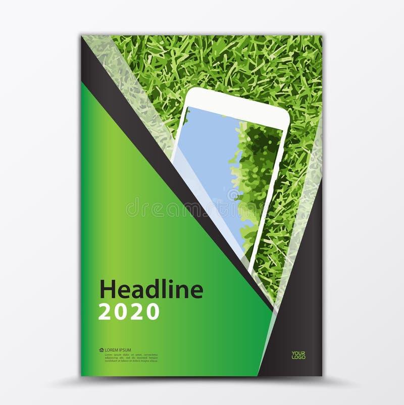Mobil Apps reklamblad, räkningsdesign, smartphonannons, årsrapporträkningsmall, orientering för affärsbroschyrreklamblad stock illustrationer