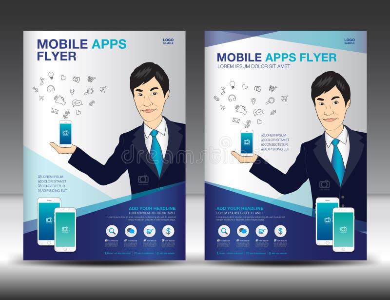 Mobil Apps reklambladmall Layou för design för affärsbroschyrreklamblad stock illustrationer