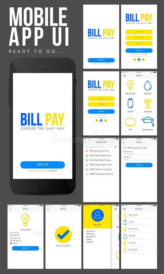 Mobil Apps UI för online-betalning design stock illustrationer