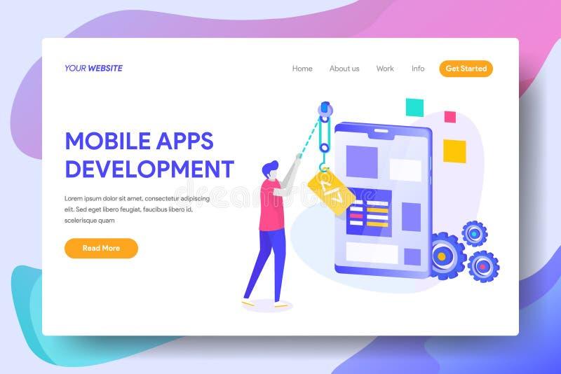 Mobil Apps utveckling stock illustrationer
