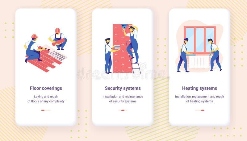 Mobil Appsida för hem- reparation Onboard skärmuppsättning stock illustrationer