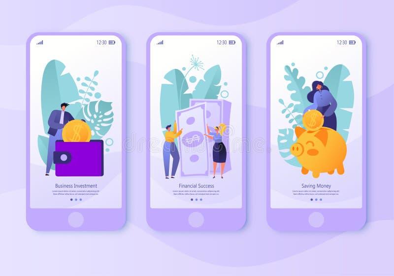 Mobil appsida, skärmuppsättning Begrepp för website på affärs- och finanstema stock illustrationer