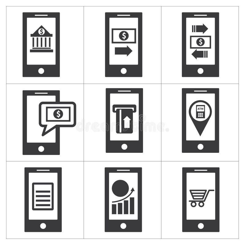 Mobil bankrörelsesymbol royaltyfri illustrationer