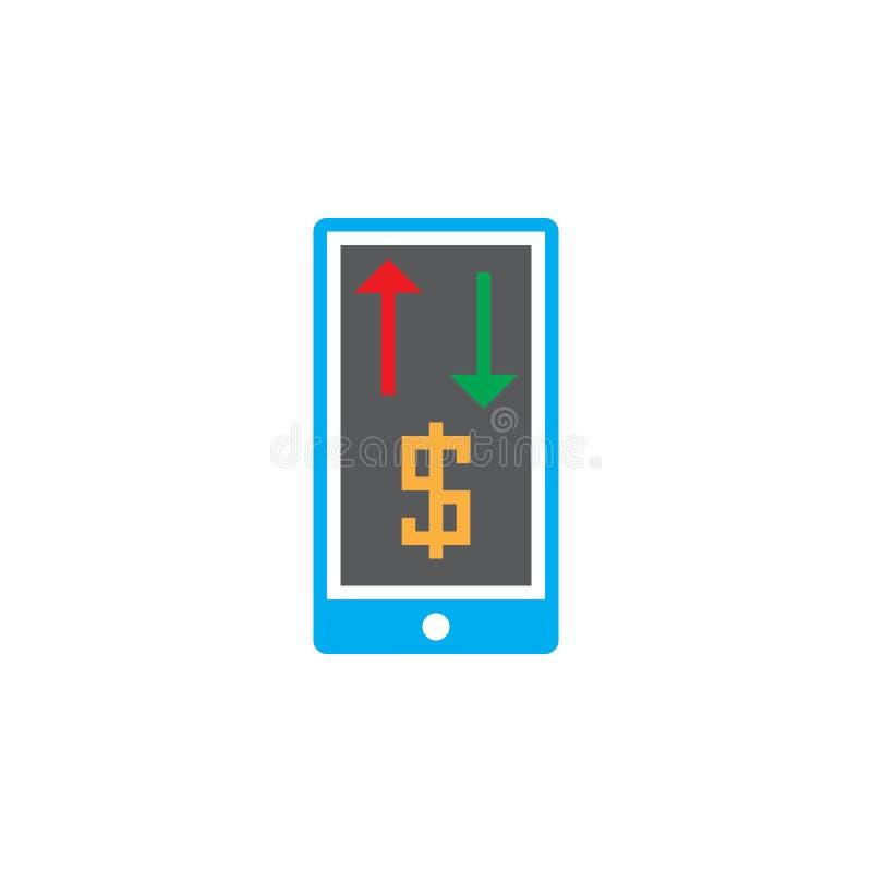 Mobil bankrörelsesymbolsvektor, fast logo, isolerad pictogram royaltyfri illustrationer