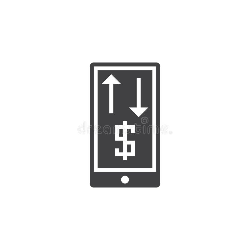 Mobil bankrörelsesymbolsvektor, fast logo, isolerad pictogram vektor illustrationer