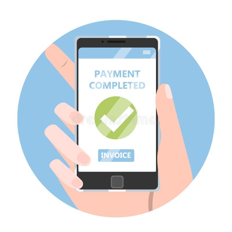 mobil betalning Idé av en digital transaktion royaltyfri illustrationer