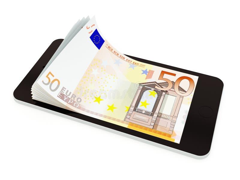 Mobil betalning med den smarta telefonen, euro femtio vektor illustrationer